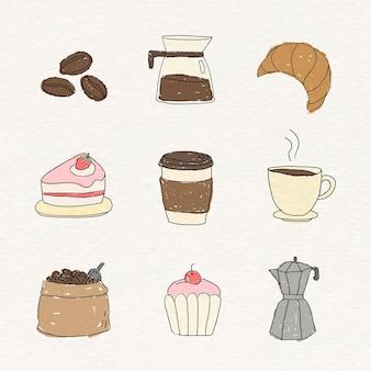 Lindo conjunto de elementos de doodle de café