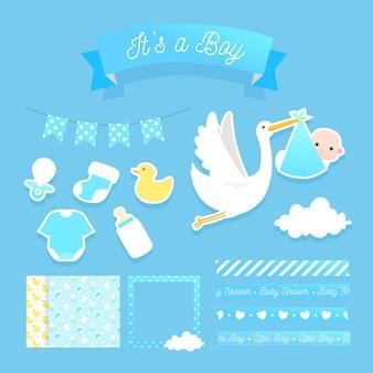 Lindo conjunto de elementos de scrapbook de baby shower