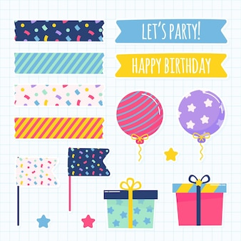 Lindo conjunto de elementos de scrapbook de cumpleaños