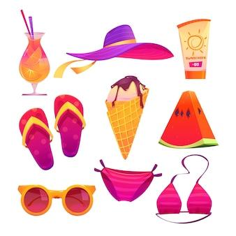 Lindo conjunto de elementos de verano