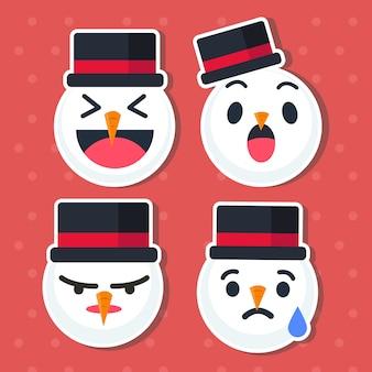 Lindo conjunto de emoticonos de muñeco de nieve