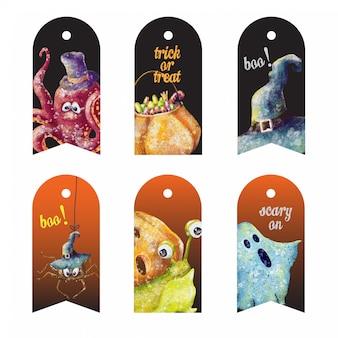 Lindo conjunto de etiquetas de halloween de dibujos animados