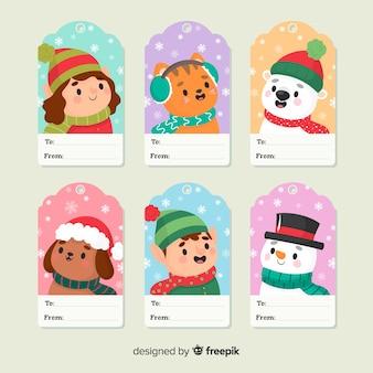 Lindo conjunto de etiquetas de personajes de navidad