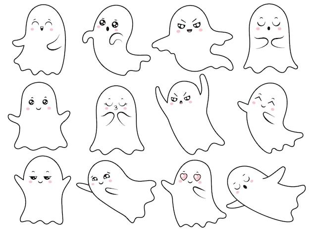 Lindo conjunto de fantasmas kawaii