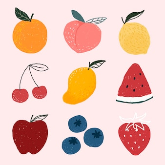 Lindo conjunto de frutas dibujadas a mano