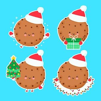 Lindo conjunto de galletas de navidad feliz y divertido. ilustración de estilo dibujado a mano de personaje de dibujos animados. navidad, concepto de año nuevo