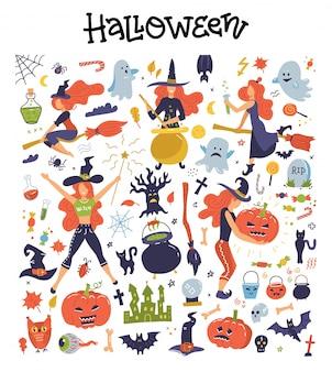 Lindo conjunto grande con ilustraciones e iconos de halloween calabaza, fantasma, gato, murciélago, brujas jóvenes, imágenes prediseñadas de decoración.