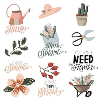Lindo conjunto de hello spring con elementos de jardín dibujados a mano, herramientas y letras románticas.