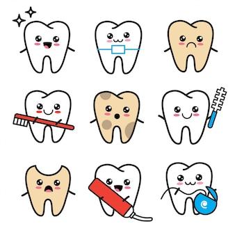 Lindo conjunto de iconos de diente kawaii. dientes con cepillo de dientes, aparato ortopédico, pasta de dientes, caries, hilo dental