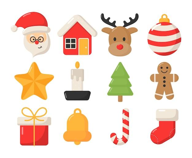 Lindo conjunto de iconos planos de navidad aislado en blanco.