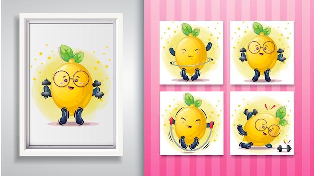 Lindo conjunto de ilustración de limón y marco decorativo.
