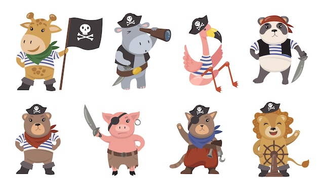 Lindo conjunto de ilustración plana de piratas de animales pequeños. marineros de dibujos animados como león divertido, flamenco, cerdo, gato, jirafa, panda colección de ilustraciones vectoriales aisladas. mascotas e impresiones para el concepto de niños