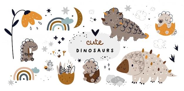 Lindo conjunto infantil con dinosaurios animales bebé. colección dino