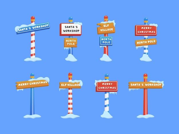 Lindo conjunto de letreros del polo norte o símbolo temático de navidad e invierno.