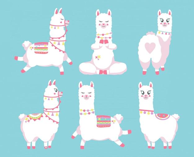 Lindo conjunto de llamas o alpacas. ilustración dibujada a mano