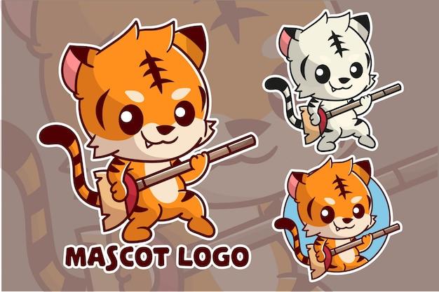 Lindo conjunto de logotipo de mascota tigre
