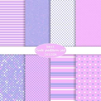 Lindo conjunto. lunares, rayas, patrón de corazones. colores rosa, violeta. juego de papel.