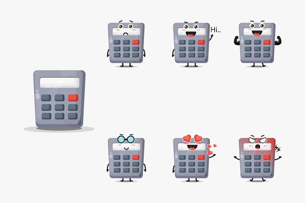 Lindo conjunto de mascota calculadora aislado en blanco