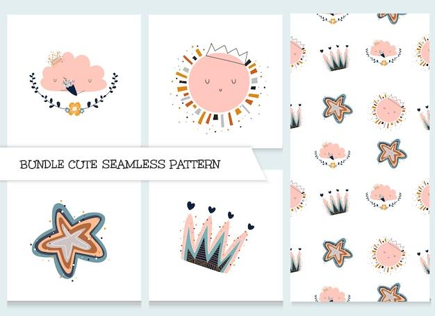 Lindo conjunto de patrones de animales planos de dibujos animados de colección