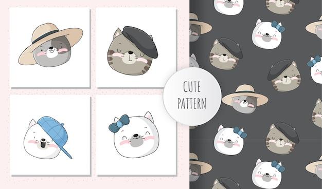 Lindo conjunto de patrones de cara de gatito animal