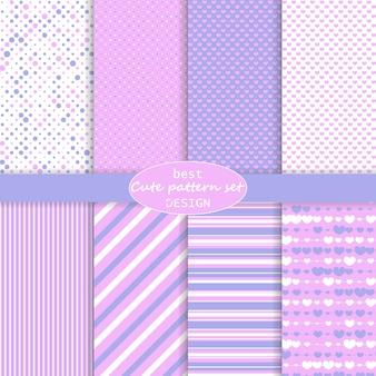 Lindo conjunto de patrones. fondo de corazones. día de san valentín . colores rosa, violeta. lunares, rayas, patrón de corazones. juego de papel. .