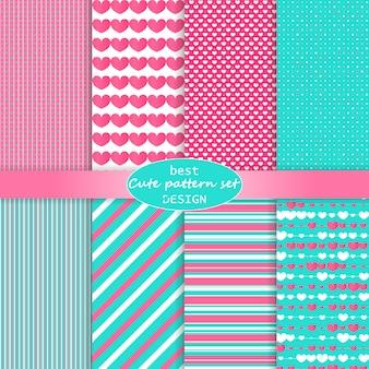 Lindo conjunto de patrones. fondo de corazones. día de san valentín . colores rosados, azules. lunares, rayas, patrón de corazones. .