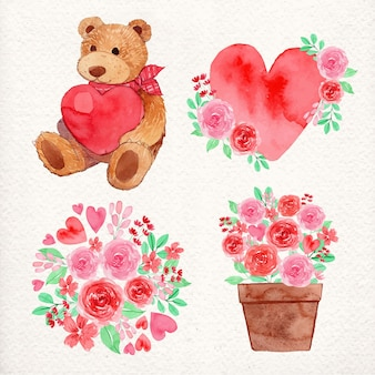 Lindo conjunto de pegatinas de acuarela del día de san valentín