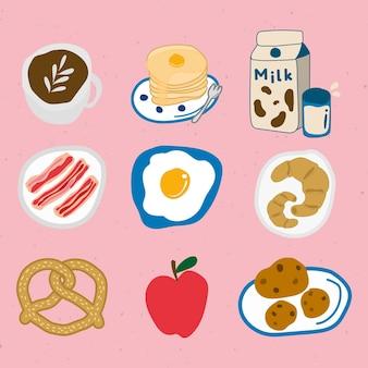 Lindo conjunto de pegatinas de doodle de comida