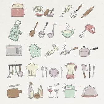 Lindo conjunto de pegatinas de doodle de utensilios de cocina