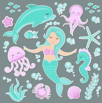 Lindo conjunto de pegatinas emoji de moda, parches, insignias de la sirenita y el mundo submarino. princesa de cuento de hadas sirena y delfines, pulpos, peces, medusas. .