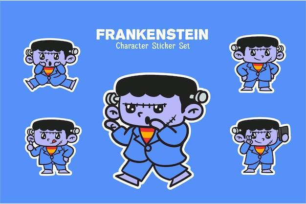 Lindo conjunto de pegatinas de ilustración de personaje de halloween de frankenstein