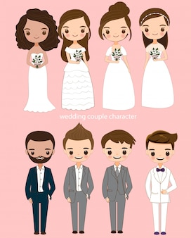 Lindo conjunto de personajes de dibujos animados de la novia y el novio
