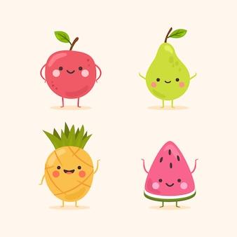 Lindo conjunto de personajes de frutas sonrientes