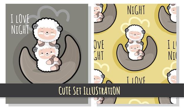Lindo conjunto plano de ilustración de oveja linda en la luna