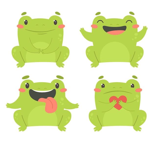 Un lindo conjunto de ranas divertidas ilustración infantil impresa para ropa