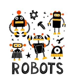 Lindo conjunto con robots ilustración de dibujo a mano