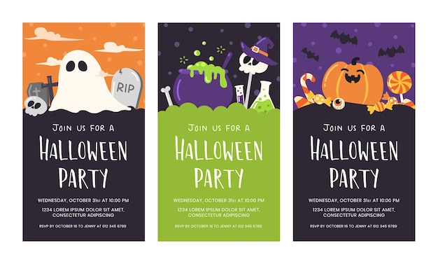 Lindo conjunto de tarjeta de invitación de fiesta de halloween.