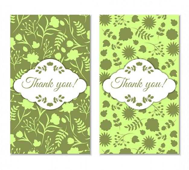 Lindo conjunto de tarjetas de agradecimiento floral vintage verde.