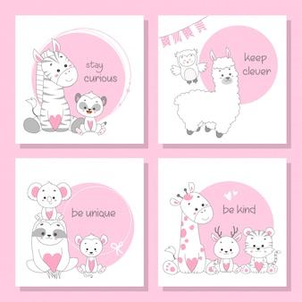 Lindo conjunto de tarjetas de animales felices