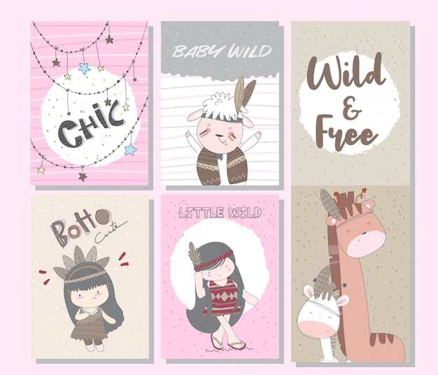 Lindo conjunto de tarjetas boho