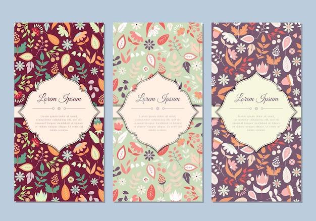 Lindo conjunto de tarjetas florales vintage doodle