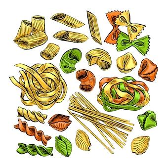 Lindo conjunto de varios tipos de pasta. ilustración dibujada a mano