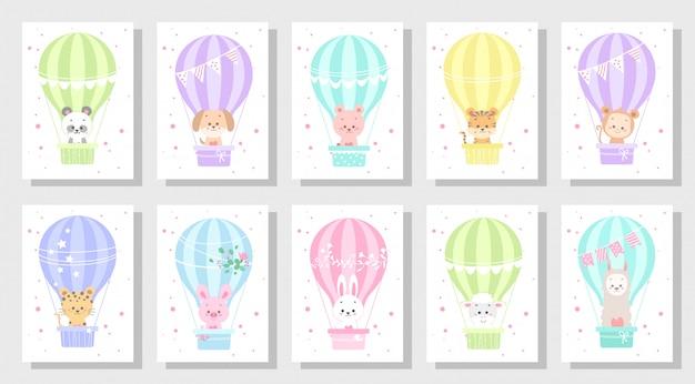Lindo conjunto de vectores de tarjetas de felicitación de niños paquete