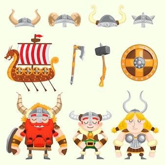 Lindo conjunto de vectores vikingos