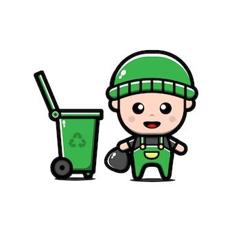 Lindo conserje de pie cerca del personaje de dibujos animados del contenedor de basura