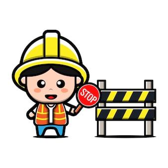 Lindo constructor con personaje de dibujos animados de señal de stop