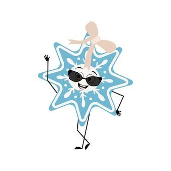 Lindo copo de nieve de navidad con gafas y emociones alegres sonrisa ojos brazos y piernas feliz año nuevo fe ...