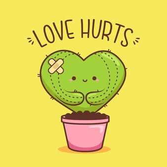 Lindo corazón en forma de cactus en maceta rosa