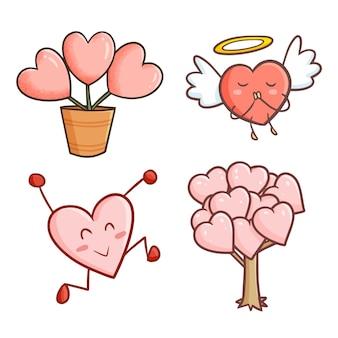 Lindo corazón kawaii como planta y como personaje mascota