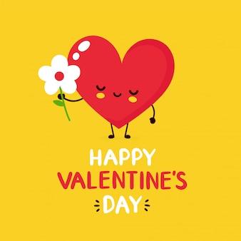 Lindo corazón rojo sonriente feliz con tarjeta de felicitación de san valentín de flores